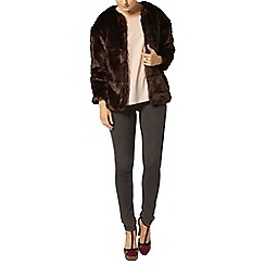 Dorothy Perkins - Chocolate faux fur short coat