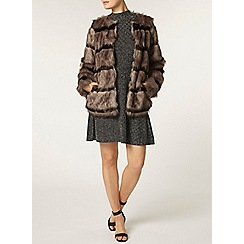 Dorothy Perkins - Brown stripe faux fur coat