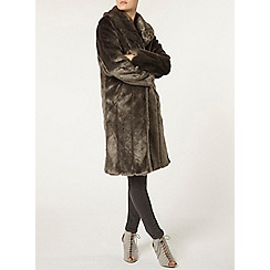 Dorothy Perkins - Charcoal long line faux fur coat