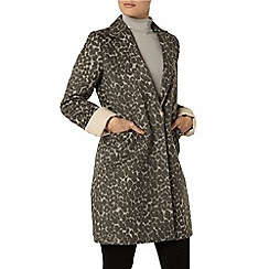 Dorothy Perkins - Grey animal boyfriend coat