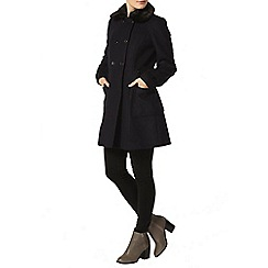 Dorothy Perkins - Navy fur collar fit and flare coat