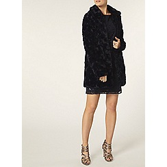 Dorothy Perkins - Navy peter pan collar faux fur coat