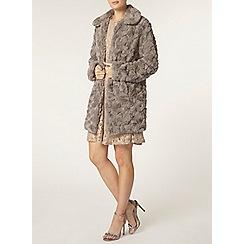 Dorothy Perkins - Grey faux fur collar coat