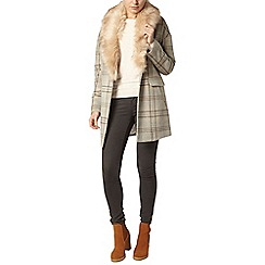 Dorothy Perkins - Check fur collar coat