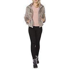Dorothy Perkins - Silver short plush bomber jacket