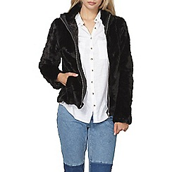 Dorothy Perkins - Black short plush bomber jacket