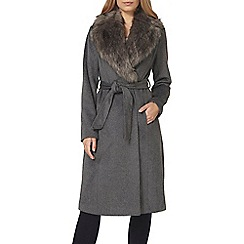 Dorothy Perkins - Charcoal faux fur collar robe coat