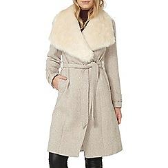 Dorothy Perkins - Stone fur collar herringbone coat