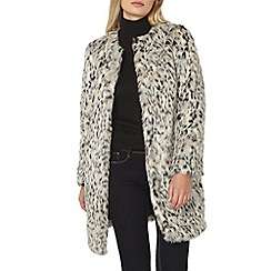 Dorothy Perkins - Animal collarless faux fur coat