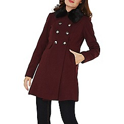 Dorothy Perkins - Berry coat with faux fur collar
