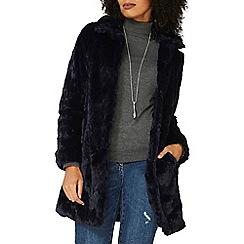 Dorothy Perkins - Midnight blue longline faux fur coat