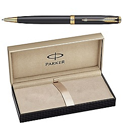 Parker - Matte black gold 'sonnet 08' ball pen