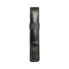 Kingsley - black leather 'Carlos' square single pen pouch