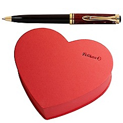Pelikan - ruby red 'K320' ball pen in heart-shaped box
