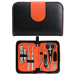 Maranda - Black and orange 9 piece manicure set