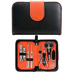 Maranda - Black and orange 9 piece manicure set