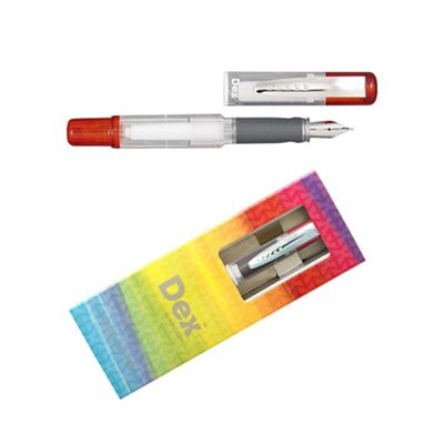 Red dex compact clear fountain pen - . -