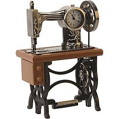 Widdop Bingham - black and gold miniature sewing machine clock