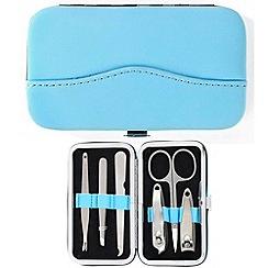 Maranda - electric blue suede 6 piece manicure set
