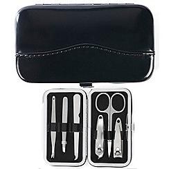 Maranda - black patent leather 6 piece manicure set