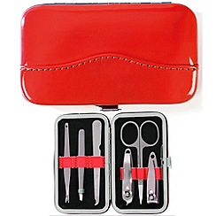 Maranda - red patent leather 6 piece manicure set