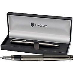 Kingsley - Gunmetal 'Chequer' Fountain & Ball Pen Set