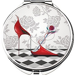 Maranda - chrome 'Red Hot' compact mirror