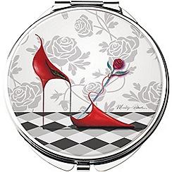 Maranda - chrome 'Red Hot' compact mirror
