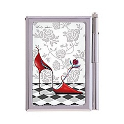Maranda - chrome 'Red Hot' notepad and pen