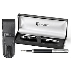 Kingsley - Black Balmoral Fountain Pen & Ball Pen