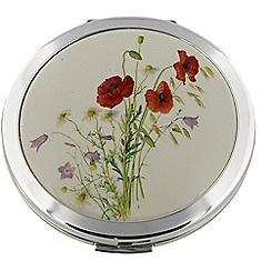 Stratton - silver 'poppy' compact mirror