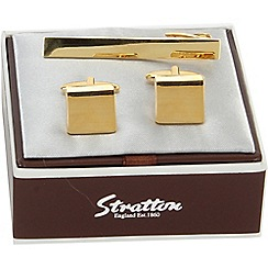 Stratton - gold plated tie slide cufflink set