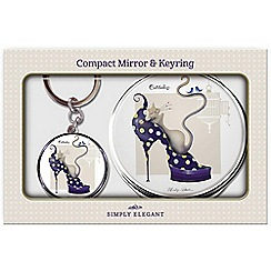 Maranda - chrome 'Dizzy' compact mirror and keyring