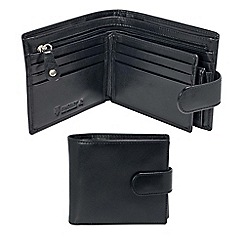 Kingsley - black leather 'RFID' tab wallet