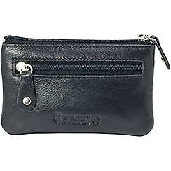 Kingsley - black leather 'RFID' coin purse with chain
