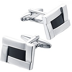 Gaventa - Rhodium genuine onyx cufflinks