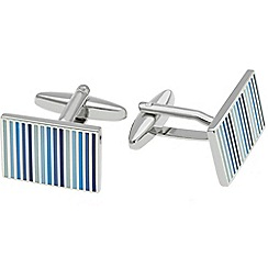 Gaventa - Rhodium and blue enamel stripe cufflinks