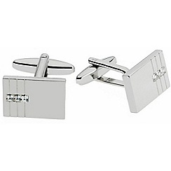 Gaventa - Rhodium triple crystal cufflinks
