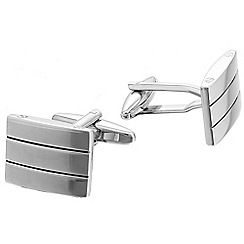 Gaventa - Polished black enamel and rhodium stripe cufflinks