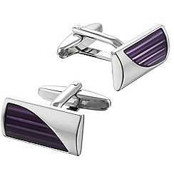 Gaventa - Translucent purple enamel and rhodium cufflinks