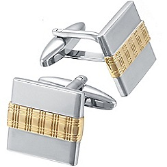 Gaventa - Gold and rhodium tartan pattern strip cufflinks