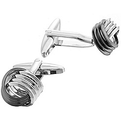 Gaventa - Rhodium and gunmetal two tone knot cufflinks