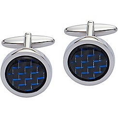 Gaventa - Blue carbon fibre and rhodium round cufflinks
