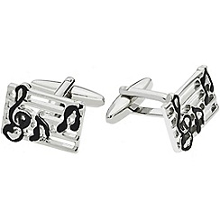 Gaventa - Rhodium novelty music note cufflinks