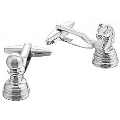 Gaventa - Rhodium novelty chess cufflinks