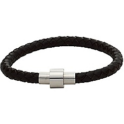 Gaventa - Black leather bracelet with magnetic steel clasp
