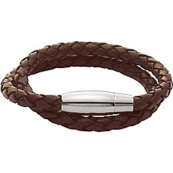 Gaventa - Brown leather twist bracelet with magnetic clasp