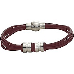 Gaventa - Brown leather strands bracelet with magnetic clasp