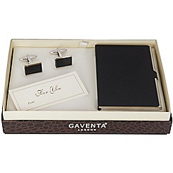 Gaventa - Black enamel steel card case and rhodium cufflinks