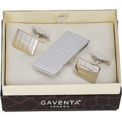 Gaventa - Rhodium checked moneyclip and cufflinks set